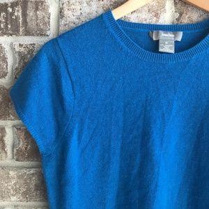 Neiman Marcus Cap Sleeve Blue Cashmere Sweater